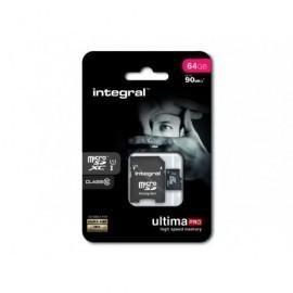 INTEGRAL Tarjeta de memoria micro SDXC UltimaPro de 64 GB con adaptador SD clase 10 INMSDX64G10-90U1