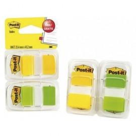 POST-IT® pack 2 x 50 index verde y amarillo 1 + 1 dispensador gratis 25,4 x 43,1 mm 70005040038