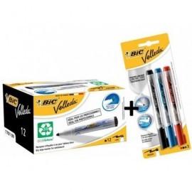 VELLEDA Pack 12 marcadores 1701 negros + blister 3 Liquid ink 942234